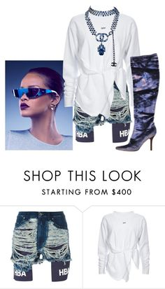"""""""Blue Riri Shades"""" by bk2cb ❤ liked on Polyvore featuring Hood by Air, Chanel, Dior, Rihanna, hba and hoodbyair"""