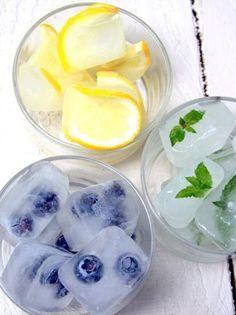 Fruit, mint in ice.