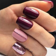 Trendy Manicure Ideas In Fall Nail Colors;Purple Nails; nails shop Nägel Ideen lila Trendy Manicure Ideas In Fall Nail Colors Simple Nail Art Designs, Gel Nail Designs, Cute Nail Designs, Nails Design, Simple Art, Nail Designs For Fall, Burgundy Nail Designs, Pretty Designs, Fall Nail Art