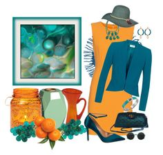 """""""Spring Colors - Tangerine & Teal"""" by lexuslady ❤ liked on Polyvore featuring Blenko, Diane Von Furstenberg, Fenn Wright Manson, Badgley Mischka, CB2, Cultural Intrigue, J.Reneé and Scala"""