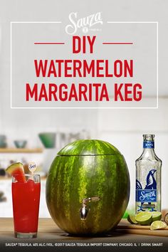 Trade in the traditional keg this Fourth of July with something more festive.    Sauza® Watermelon Margarita:  1 part Sauza® Signature Blue Silver Tequila 1 part fresh watermelon juice  1⁄2 part lime juice  1⁄2 part simple syrup  1⁄2 part triple sec  (Makes 8-12 drinks depending on size of watermelon)  Watermelon Keg Directions:  Slice top Scoop out inside Poke hole & place spigot  Pour above Sauza® Watermelon Margarita ingredients Stir  Place top back on