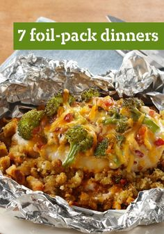 Foil-Pack Chicken & Broccoli Dinner — Try to beat the savory deliciousness and easy cleanup of this tasty chicken and broccoli dinner with KRAFT Classic Ranch Dressing. All the flavors found in the recipe come together in one neat foil pack. Foil Pack Dinners, Foil Packet Meals, Foil Packets, Yummy Food, Tasty, Quick Meals, Food Dishes, Main Dishes, Love Food