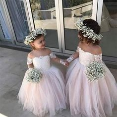 Pretty Off Shoulder Long Sleeve Tulle Flower Girl Dresses - Not the dress, the crown for Ines Girls Dresses Uk, Cute Flower Girl Dresses, Tulle Flower Girl, Tulle Flowers, Wedding Flowers, Dresses Dresses, Flower Crown, Little Girl Wedding Dresses, Party Dresses