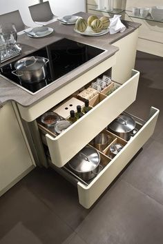 not sure about this being under the sink (not friendly to multiple workers) but I love it for pan organization