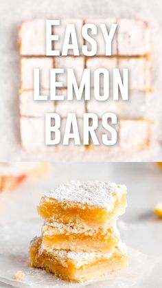 These perfect lemon bars are gooey and lemony with a soft, buttery shortbread crust. Winter Desserts, New Year's Desserts, Single Serve Desserts, Köstliche Desserts, Delicious Desserts, Christmas Desserts, Hot Fudge Cake, Hot Chocolate Fudge, Slow Cooker Desserts