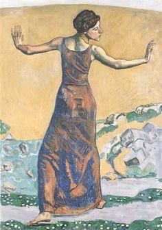 Ferdinand Hodler (1853-1918, Swiss), 1911, Joyous Woman, Oil on canvas, 131 × 91.5 cm, Galerie Thannhauser, München.