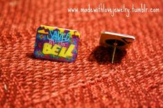 Saved By The Bell Logo Stud Post Earrings by Shanana on Etsy, $10.00    I HAVE these and have to share them with you! :)