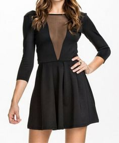Plunging V Mesh Black Dress