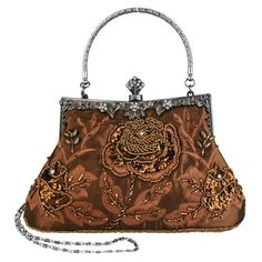 Exquisite Antique Seed Beaded Rose Evening Handbag, Clasp Purse Clutch w/Hidden Handle and Chain 1