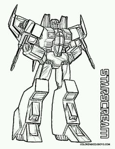 Transformers starscream coloring sheet