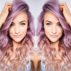 Lilac mauve hair to a white lilac ombre with big natural waves