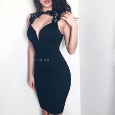 Black Crochet Lace Shoulder Dress // Almost gone! Available at emprada.com