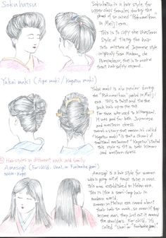 NIHONGAMI TUTORIAL 16 - Types of hairystyles for female, (4) continued: Sokuhatsu [for upper class females, Meiji Era, mix of Western & Japanese style], Yakai maki [aka Age maki / Kagetsu maki, popular during Meiji era, mix of Western & Japanese style]. | (5) Hairstyles in different rank and family, Amasogi [for Heian era woman becoming a nun, because hair was important even for them!] Unai / Furiwake gami [if worn by child] by ShotaKotake @ DeviantArt