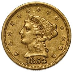 Lot 35: 1854 $2 1/2 Gold VF;