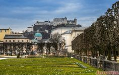One of the most famous views of Salzburg is from the Mirabellgarten, which affords views of the famed fortress hohensalzburg in the background. Travel Photos, Travel Photography, Salzburg Austria, Mansions, House Styles, Awesome, Travel Pictures, Mansion Houses, Manor Houses