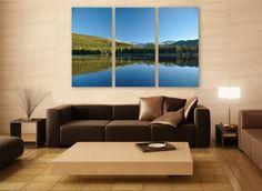 Lake Colorado Mountains Canvas Print 3 Panels Print Wall Decor Wall Art Nature Photography Art Print for Home and Office Wall Decoration by ZellartCo TAGS america landscape photography usa canvas print large canvas wall art colorado mountains water reflection wall decor room decor green