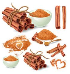 Buy Cinnamon Sticks and Powder Vector Collection by vectorpocket on GraphicRiver. Set of cinnamon sticks and ground on powder cinnamon in ceramic bowl and scattered around hand drawn vector isolated . Cinnamon Cake, Cinnamon Sticks, Cinnamon Rolls, Food Clipart, Design Mandala, Cartoon Background, Color Vector, Menu Design, Adobe Illustrator