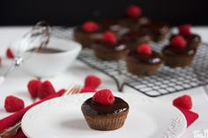 Double Chocolate Raspberry Filled Cupcakes with Chocolate Ganache