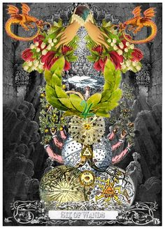 Six of Wands - Arthur Taussig Collage Tarot