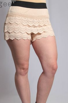 sister hippie - cream lace shorts (plus size), $31.00 (http://www