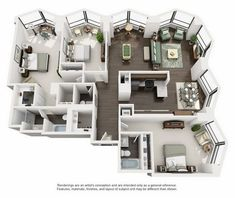 Suite A 3-Bedroom Apartment Floorplan