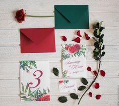 """Купить Приглашения на свадьбу """"Кармэн"""" - бордовый, свадьба2016 свадьба, свадьба2016, свадебные цветы, приглашения, пригласительные"""