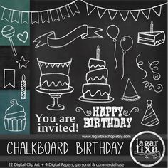 Chalkboard Birthday Party Clip art & Digital by LagartixaShop Happy Birthday Chalkboard, Happy Birthday Signs, Chalkboard Designs, Chalkboard Art, Chalkboard Clipart, Balloon Cupcakes, Serpentina, Banner, Chalk Art