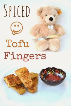 Spiced Tofu Fingers. A simple snack or starter that's packed with protein and a real treat. Dunk in ketchup! #vegan #veggie #cookingwithkids