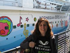 Caryn Berla, a travel agent with Cruise Planners, West Windsor, NJ, checks out the Norwegian Breakaway - has anyone sailed on the new ship?