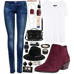 burgundy booties outfit - Google Search                                                                                                                                                     More