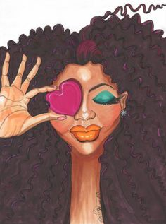 Loving Me is an ink and marker fashion illustration of a glamorous girl in makeup holding a pink heart, declaring that she just loves herself.<br/> <br/> glamorous black girl, fashion and beauty, love, girl, fashion illustration, wall art, gallery wall, fashion art, afro art, black hair, curly girl