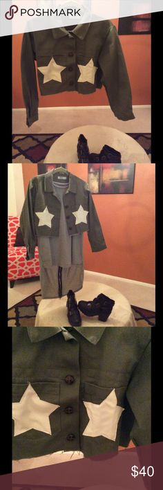 Crop Jacket, Nasty Gal Army green denim, crop jacket, with two large stars on front pockets, large brown buttons, and destruction hem. Size is XL, will probably best fit a Lrg/XL. Never worn! Not from Nasty Gal, but they had a similar item. Jackets & Coats Jean Jackets