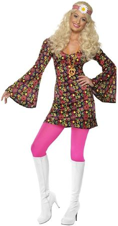 1344cf25c5c8b0 Ladies Psychedelic Hippy Hippie Bright 1960s 1970s Fancy Dress Costume  Outfit  fashion  clothing