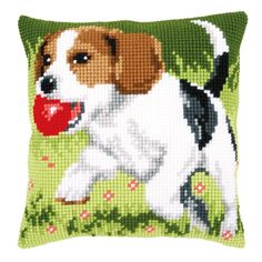 Beagle Chunky Cross Stitch Cushion Front Kit Vervaco for sale online Needlepoint Pillows, Needlepoint Kits, Cross Stitch Alphabet Patterns, Cross Stitch Cushion, Motifs Perler, Dog Crafts, Crochet Pillow, Cross Stitch Animals, Animal Pillows