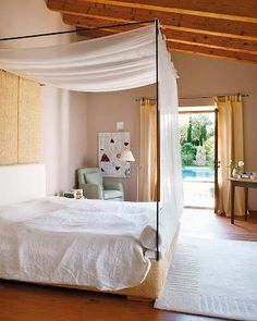 Old Majorcan residence with a fresh look and exposed beams Bedroom Retreat, Dream Bedroom, Canopy Bedroom, Mediterranean Living Rooms, Interior And Exterior, Interior Design, Dreams Beds, Concept Home, Beautiful Bedrooms