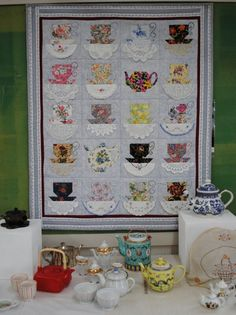tea cup quilt using old linens