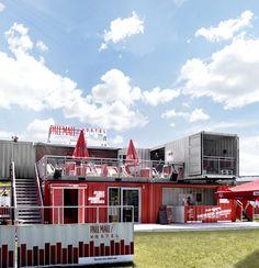 Unser Pall Mall Containergebäude für Rock im Park