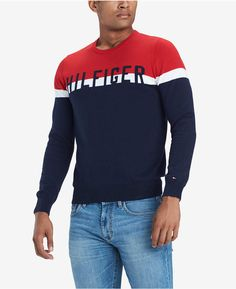 Tommy Hilfiger Men's Lief Colorblocked Logo Sweater, Created For Macy's In Apple Red Multi Sueter Tommy Hilfiger, Tommy Hilfiger Outfit, Cotton Sweater, Men Sweater, Outfit Grid, Boys T Shirts, Swagg, Streetwear Fashion, Shirt Designs