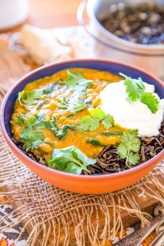 Wild rice with lentil curry