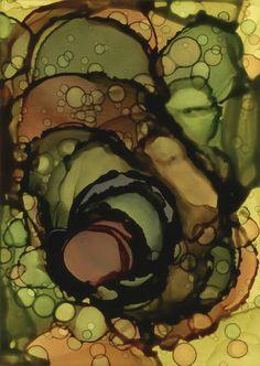 Big Bang, alcohol inks on Claybord by Andrea Pramuk