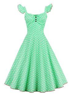 Polka Dot Buttoned Pin Up Rockabilly Swing Dress - GREEN M