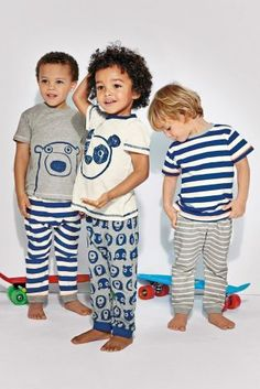 Buy Three Pack Bear/Panda Pyjamas from the Next UK online shop Little Boy Fashion, Kids Fashion Boy, Toddler Fashion, Kids Pjs, Boys Pajamas, Toddler Boys, Baby Kids, Baby Boy, Cute Outfits For Kids