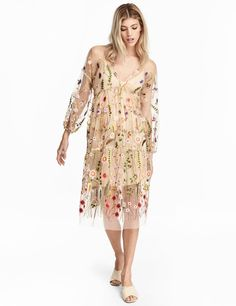 Check this out! Wide-cut dress in airy mesh with a V-neck, embroidery, and gathered seam under bust. Dropped shoulders and long sleeves with narrow elastication at cuffs. Jersey liner dress. - Visit hm.com to see more.