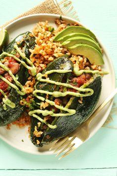 Vegan Stuffed Poblano Pfeffer  #Lebensmittel Rezepte - http://goo.gl/jdsfNw