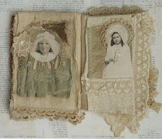 Mixed Media Fabric Collage Book of Communion Girls   eBay