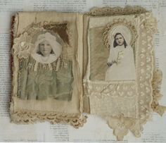 Mixed Media Fabric Collage Book of Communion Girls | eBay