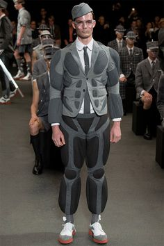 grey muscle suit // Thom Browne menswear S/S 2015
