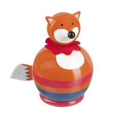 Fox Money Box  Make saving money fun with this adorable Fox Money Box! This hand crafted wooden fox money box is finished in a round shape and hand painted with bright orange, red and blue colours. To make this money box extra special, there is also a red felt collar around the fox's neck to finish off his handsome look and his tail is made from felt too! This is a lovely gift for girls and boys alike and would also make a great christening present.