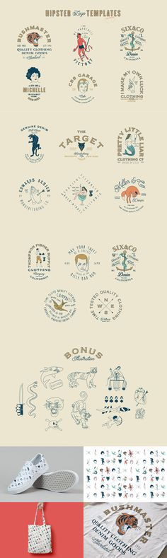 16 Hipster Logo Templates - This pack includes 16 unique hipster logo templates. All of the contained text ...