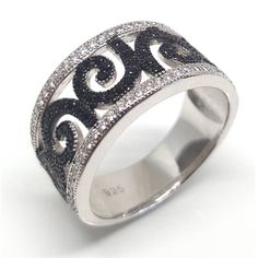Unfurling fern leaf pattern ring from Luxuria is inspired by nature. Set in 925 silver with black rhodium koru shape. 925 Silver, Silver Rings, Sterling Silver, Party Rings, Diamond Simulant, Black Rhodium, Semi Precious Gemstones, Jewelry Branding, Cocktail Rings